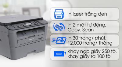 Máy In Laser Trắng Đen Brother đa năng In scan copy DCP-L2520D  cũ