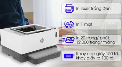 Máy In Laser Trắng Đen HP Neverstop Laser 1000w Wifi (4RY23A) cũ